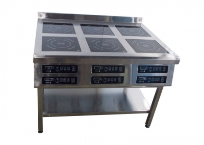 Профессиональная индукционная плита 6 конфорок